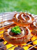 Smoking rolled sausage Stock Image