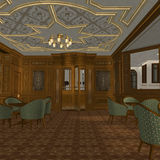 Smoking Room On A Old Luxury Ship. 3D Render of an Smoking Room on a old Luxury Ship Royalty Free Stock Photos