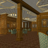 Smoking Room On A Old Luxury Ship. 3D Render of an Smoking Room on a old Luxury Ship Stock Photos