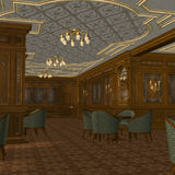Smoking Room On A Old Luxury Ship. 3D Render of an Smoking Room on a old Luxury Ship Stock Photography