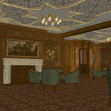 Smoking Room On A Old Luxury Ship. 3D Render of an Smoking Room on a old Luxury Ship Stock Images