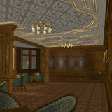 Smoking Room On A Old Luxury Ship. 3D Render of an Smoking Room on a old Luxury Ship Royalty Free Stock Photo