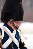 Smoking russian musketeer Stock Photos