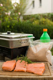 Smoking the salmon. Equipment for smoking the fish with fish, sawdust, smoke box on the table in garden Stock Photos
