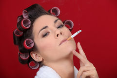 Smoking in the salon Royalty Free Stock Images