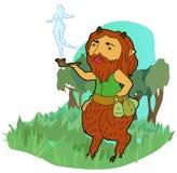 Smoking satyr. The smoking satyrs fantasy Stock Photo