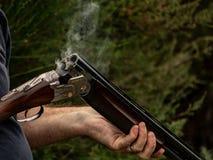 Smoking Shotgun Barrel, Over Under Double Barrel stock photo
