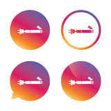Smoking sign icon. E-Cigarette symbol. Electronic cigarette. Gradient buttons with flat icon. Speech bubble sign. Vector Stock Photo
