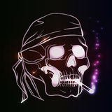 Smoking skull. Skull with braight glowing cigarette. Vector illustration Stock Photo