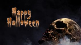 Smoking Skull Happy Halloween Stock Video Footage