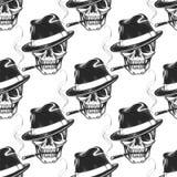 Smoking skull seamless pattern Royalty Free Stock Photo