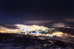 The smoking steel works, view from top of the nearby mountain. Stock Photo
