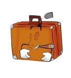 Smoking suitcase cartoon Royalty Free Stock Images