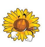 Smoking Sunflower cartoon Royalty Free Stock Photo