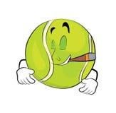Smoking tennis ball cartoon Stock Photo