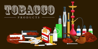 Smoking tobacco products icons set with cigarettes hookah cigars lighter isolated vector illustration Stock Images