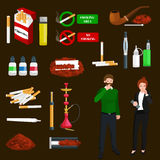 Smoking tobacco products icons set with cigarettes hookah cigars lighter isolated vector illustration Stock Photos