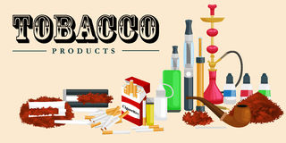 Smoking tobacco products icons set with cigarettes hookah cigars lighter isolated vector illustration Royalty Free Stock Images