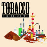 Smoking tobacco products icons set with cigarettes hookah cigars lighter isolated vector illustration Royalty Free Stock Photos