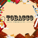 Smoking tobacco products icons set with cigarettes hookah cigars lighter  vector illustration Royalty Free Stock Image