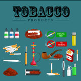 Smoking tobacco products icons set with cigarettes hookah cigars lighter  vector illustration Royalty Free Stock Photography