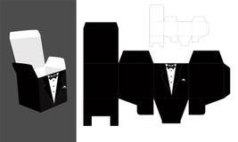 Smoking - tryckbar fyrkant som förpackar med locket Brudgum - bröllopfavörask Snabbt och lätt vikta Arkivbilder