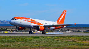 Smoking Tyres On Aircraft Royalty Free Stock Photos