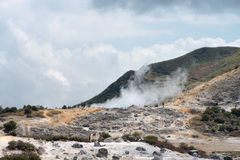 Smoking volcanic crater Royalty Free Stock Photo