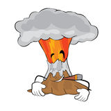 Smoking volcano cartoon Royalty Free Stock Photos