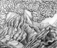 Smoking volcano mountain Royalty Free Stock Image