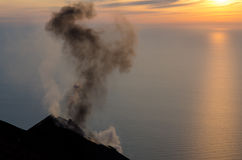 Smoking volcano on Stromboli island, Lipari, Sicily Royalty Free Stock Image