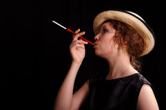Smoking woman Royalty Free Stock Photography
