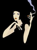 Smoking woman. A brunette in a black dress on a black background. She is speaking and gesticulating. Her eyes are closed and have a light violet eye's make-up Royalty Free Stock Images
