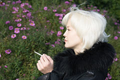 Smoking woman Royalty Free Stock Photo