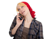 Smoking woman phoning Royalty Free Stock Photo