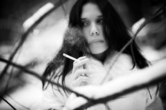 Smoking woman portrait Royalty Free Stock Images