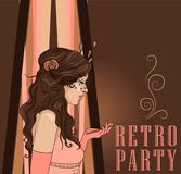 Smoking woman in retro style on Chicago party poster. Smoking flapper woman with beautiful curly hair on poster for retro party, vector illustration Stock Photo