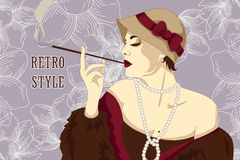Smoking woman in retro style on Chicago party poster Stock Photos