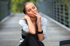 Smoking woman - smoker - Royalty Free Stock Images
