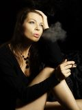 Smoking woman Royalty Free Stock Photos