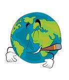 Smoking World globe cartoon Stock Photos