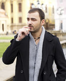 Smoking young man portrait Stock Images