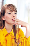 Smoking young woman Royalty Free Stock Photos