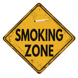 Smoking zone vintage metal sign Royalty Free Stock Photo
