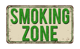 Smoking zone vintage metal sign Stock Image