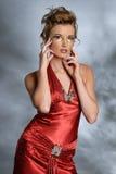 smokingowa czerwona kobieta Zdjęcie Stock