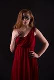 smokingowa elegancka czerwona kobieta Zdjęcia Stock