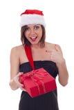 smokingowa mienia teraźniejszości Santa kobieta Fotografia Royalty Free