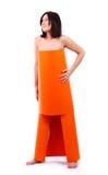 smokingowa pomarańczowa kobieta zdjęcie stock