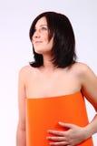 smokingowa pomarańczowa kobieta Obraz Royalty Free